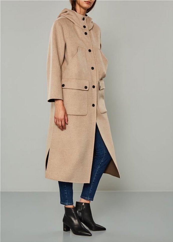 nude παλτό με κουκούλα