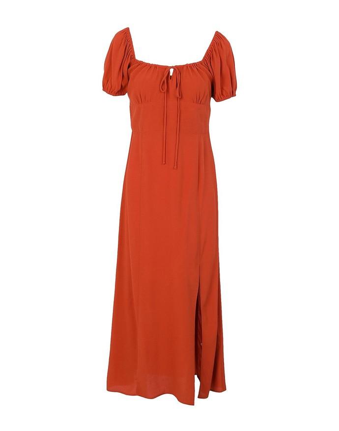 Μίντι φόρεμα με φουσκωτά μανίκια