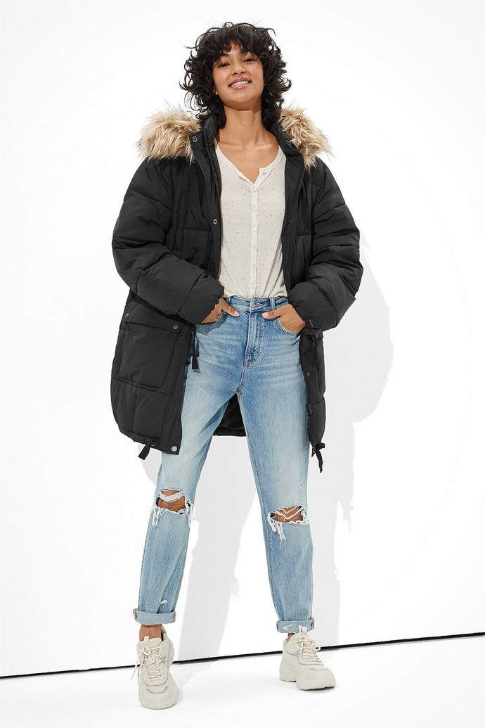 Puffer παλτό με γουνάκι