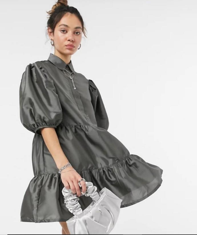 Smock dress με φουσκωτά μανίκια