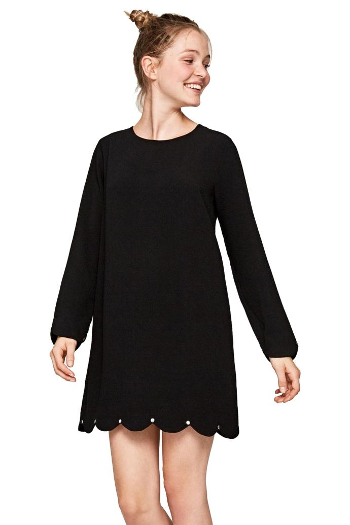 Φόρεμα mini crepe με μακρύ μανίκι & λεπτομέρεια στο τελείωμα