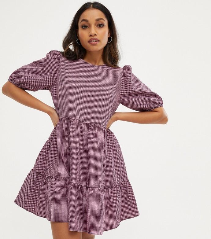 Μίνι φόρεμα με puff sleeves