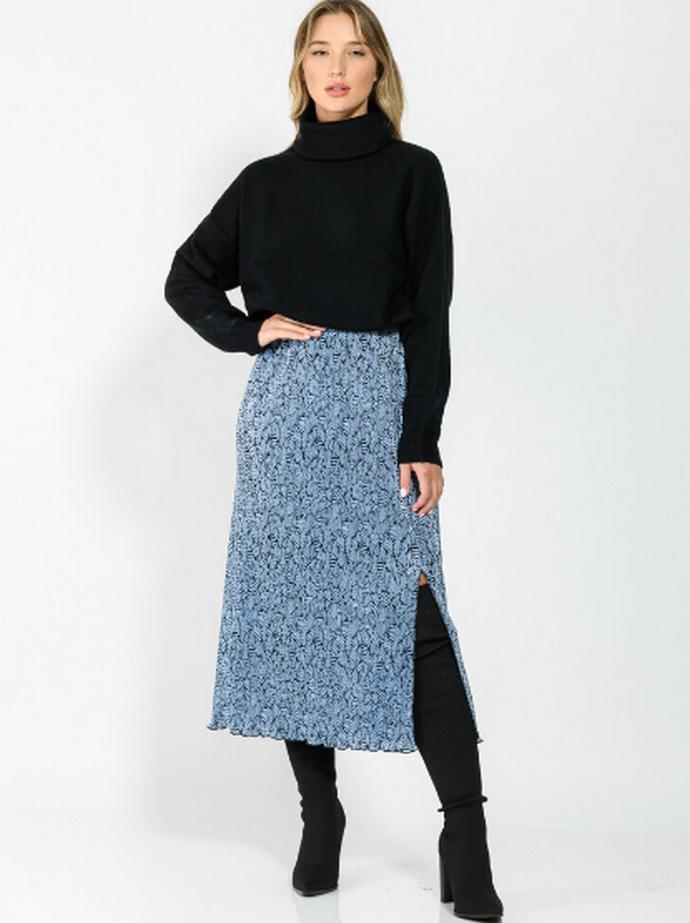 Φούστα με print και σκίσιμο