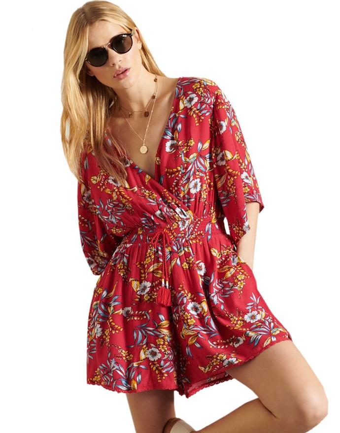 Φλοράλ κοντή ολόσωμη φόρμα
