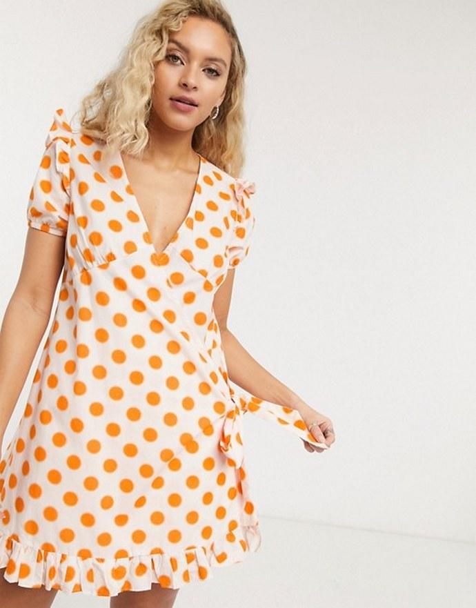 Μίνι φόρεμα με oversized πουά print