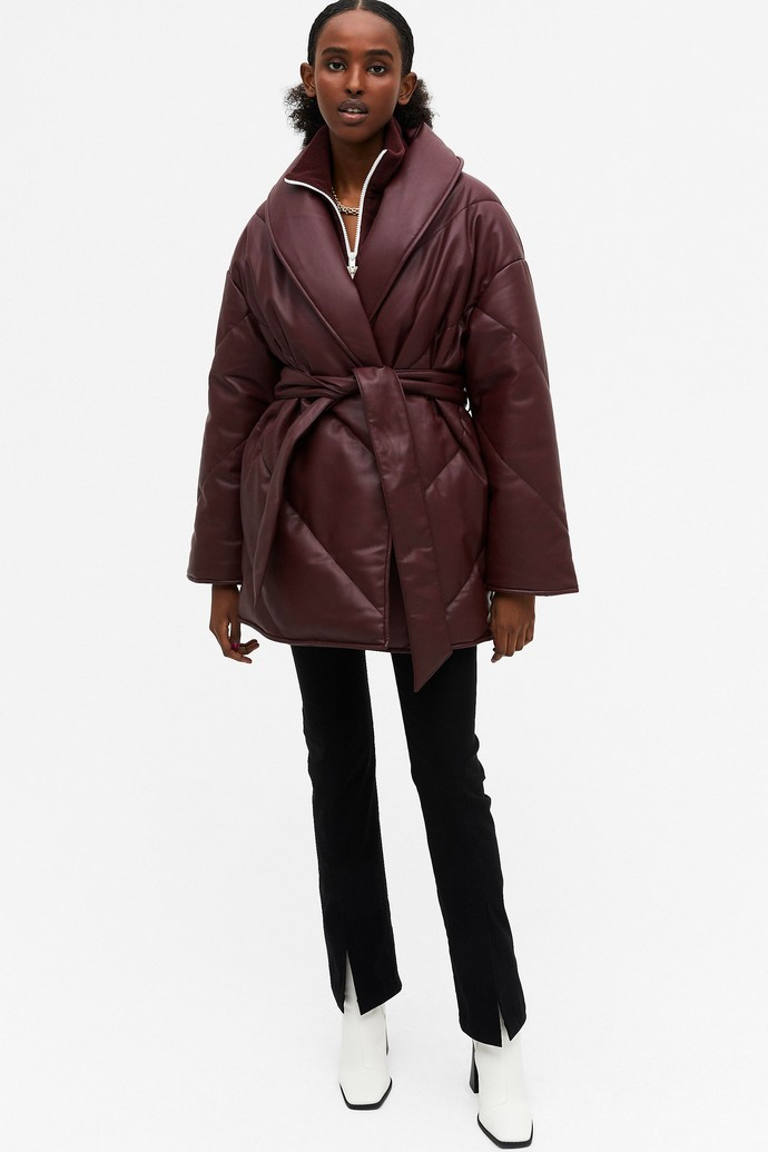 Κρουαζέ puffer jacket από faux leather