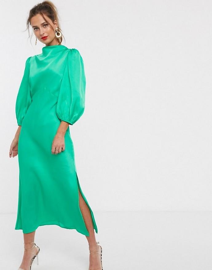Σατέν μίντι φόρεμα με balloon μανίκια