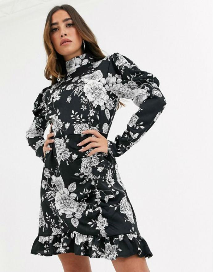 Φλοράλ φόρεμα με ψηλό γιακά