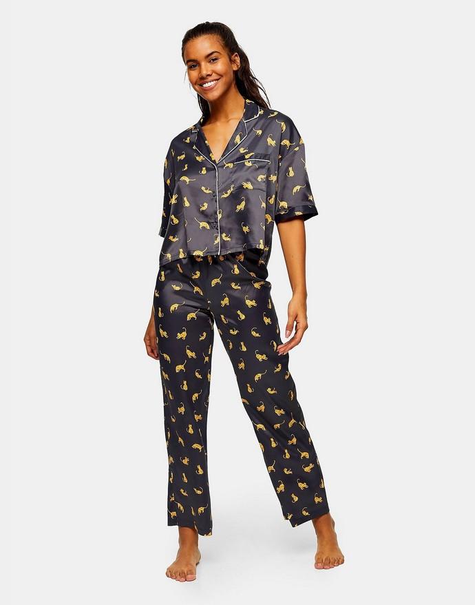 Σετ πιτζάμες με cat print