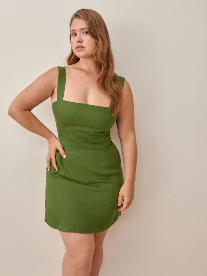 μίνι λινό εφαρμοστό φόρεμα