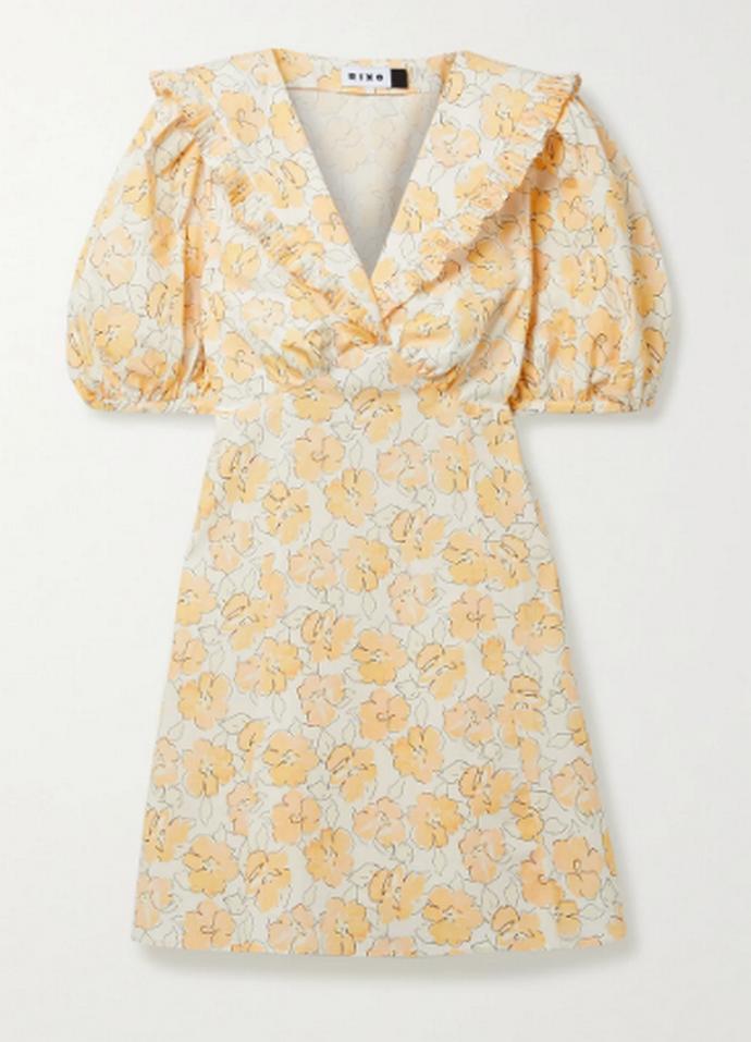 mini floral φόρεμα με φουσκωτά μανίκια