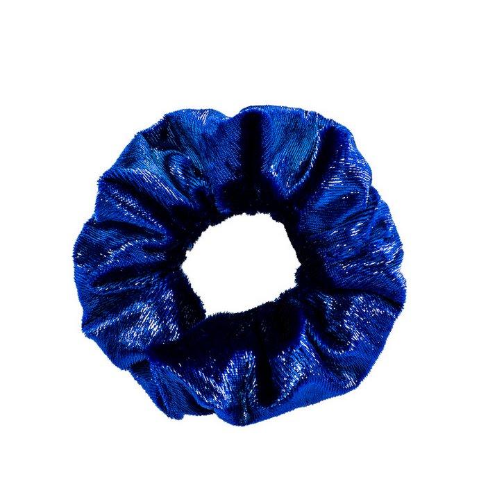 Scrunchie σε μπλε μεταλλικό βελούδο