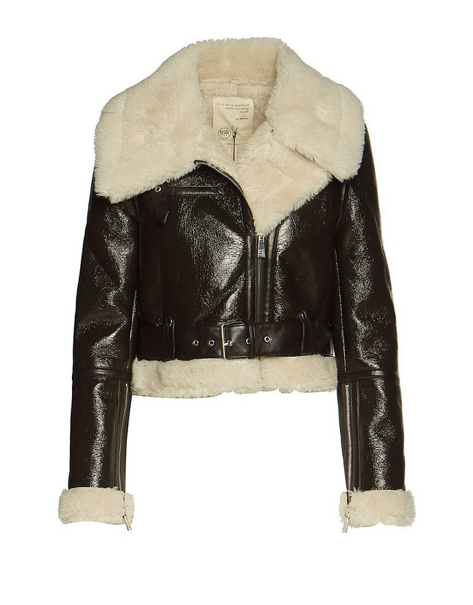 Cropped shearling jacket