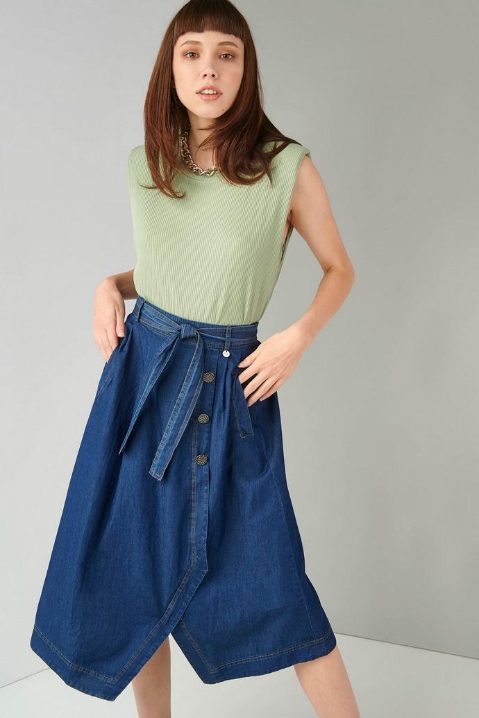 Τζιν φούστα με ζωνάκι