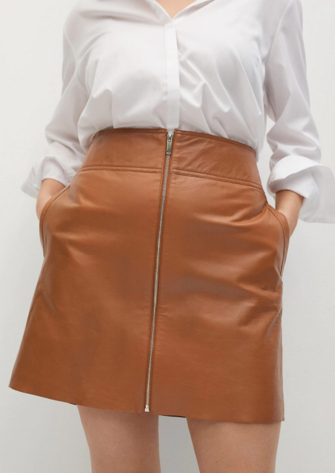 Δερμάτινη φούστα με φερμουάρ