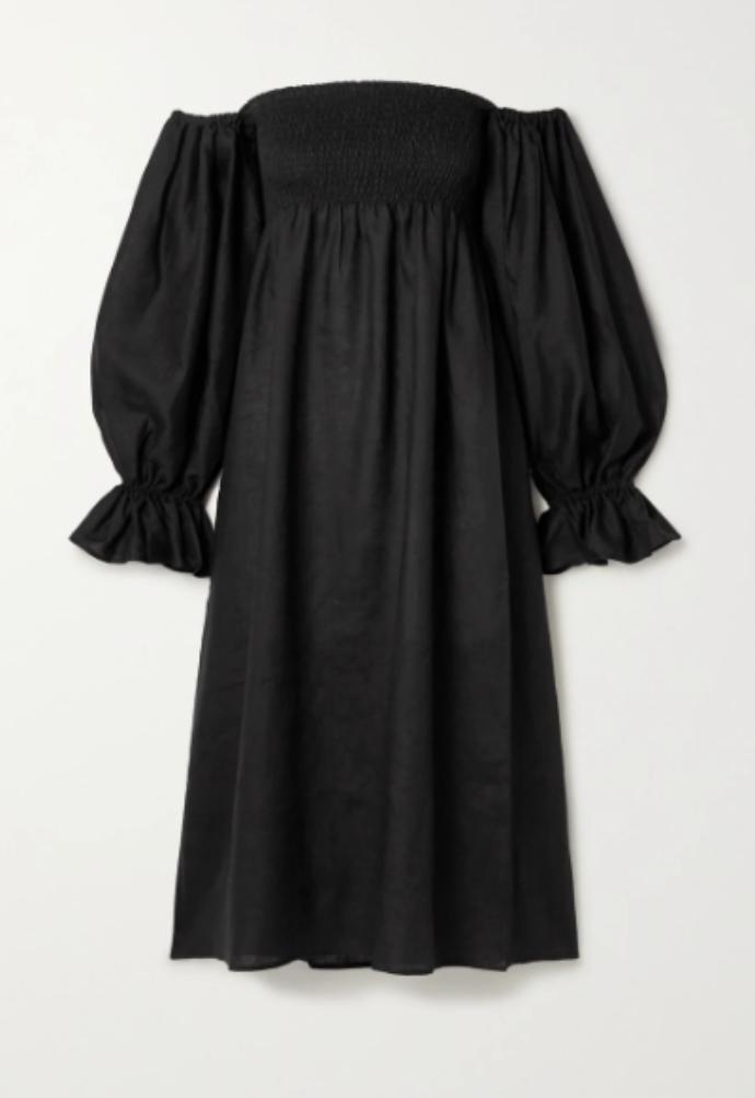 off-the-shoulder λινό φόρεμα