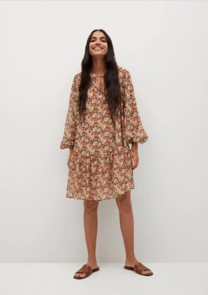 Φλοράλ φόρεμα με φουσκωτά μανίκια