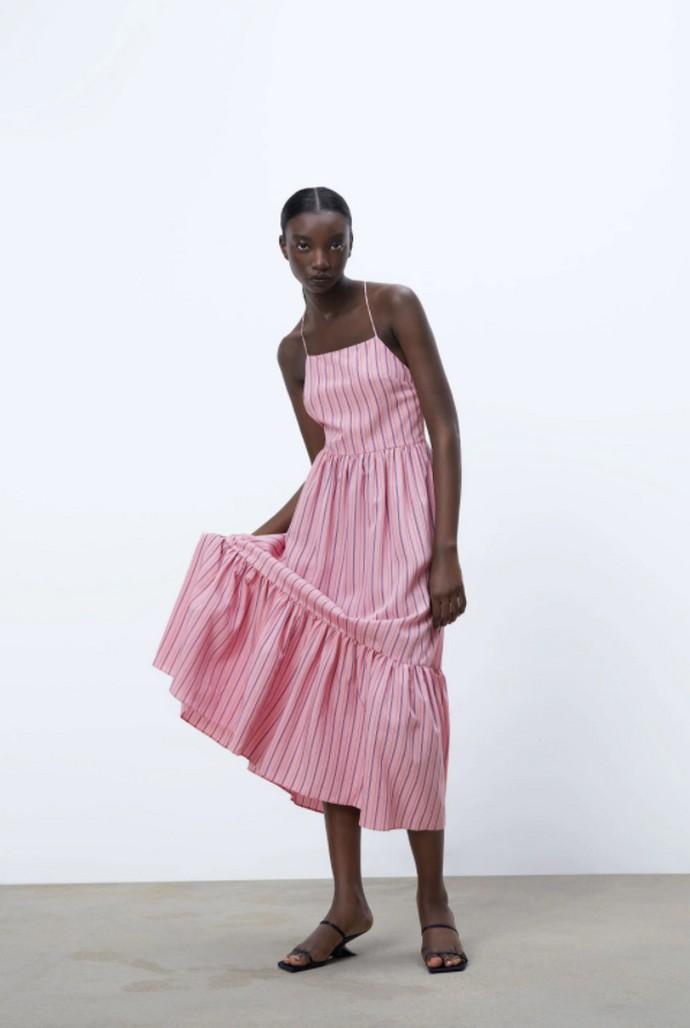 Pinstriped φόρεμα που δένει στον λαιμό