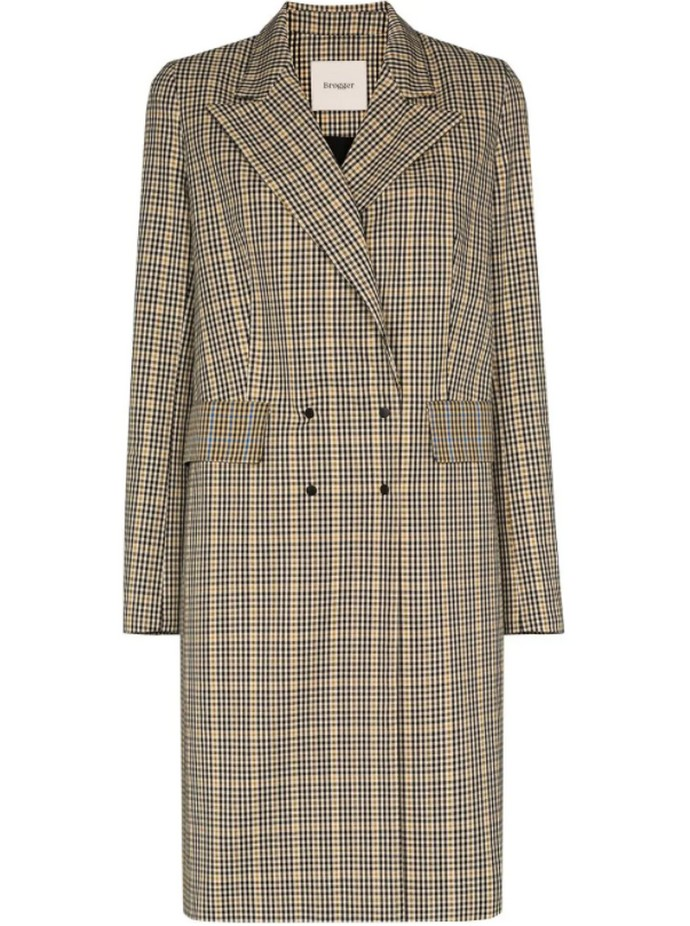 Καρό παλτό με διπλό κούμπωμα
