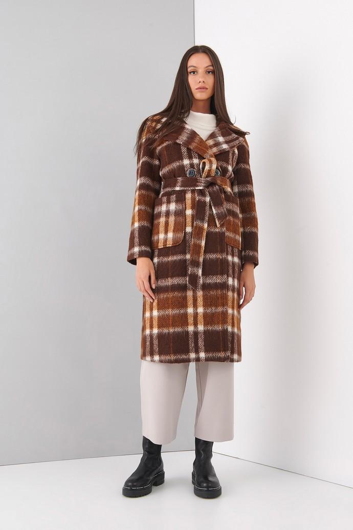 Καρό παλτό με κουκούλα