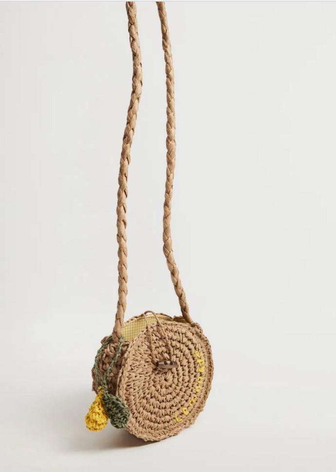 Τσάντα στρογγυλή από ψάθα