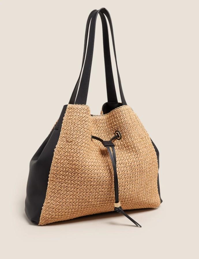 Ψάθινη τσάντα με κορδόνι