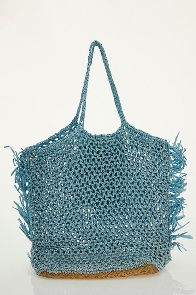 Ψάθινη τσάντα shopper με μεγάλες λαβές