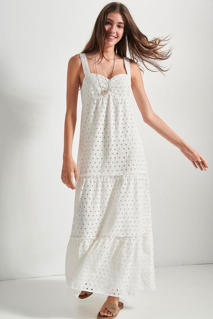Φόρεμα κιπούρ με τιράντες