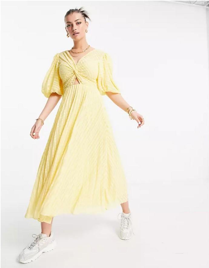 Μίντι πλισέ φόρεμα με φουσκωτά μανίκια
