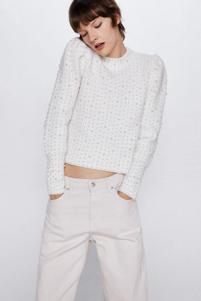 Πλεκτή μπλούζα με πέρλες