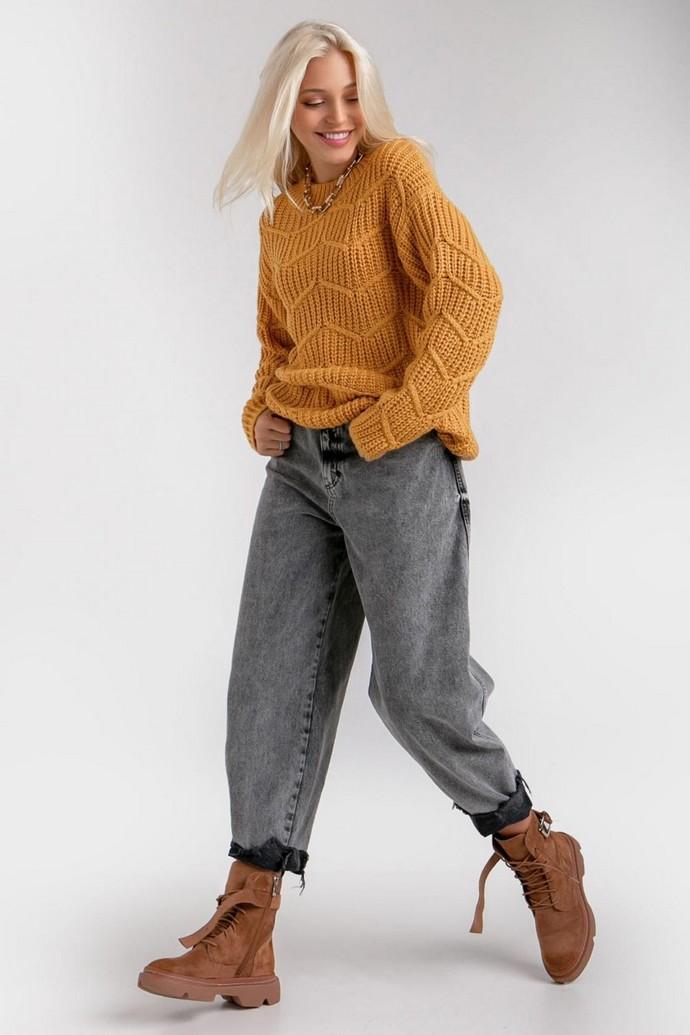 Χειροποίητο cable knit πουλόβερ