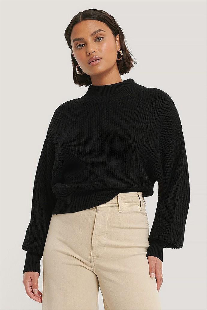 Rib πουλόβερ με χαμηλό γιακά