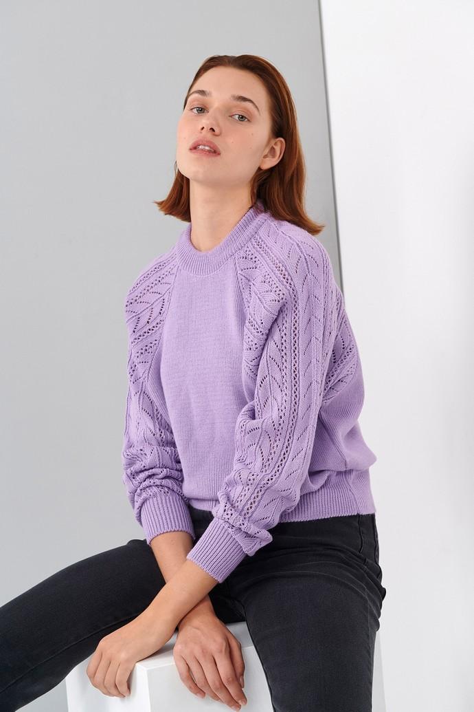 Πλεκτή μπλούζα με διάτρητη πλέξη