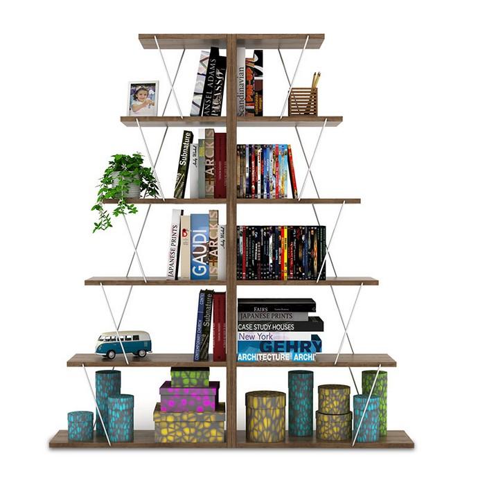 Βιβλιοθήκη Tars mini διπλή 130x22x146 εκ.
