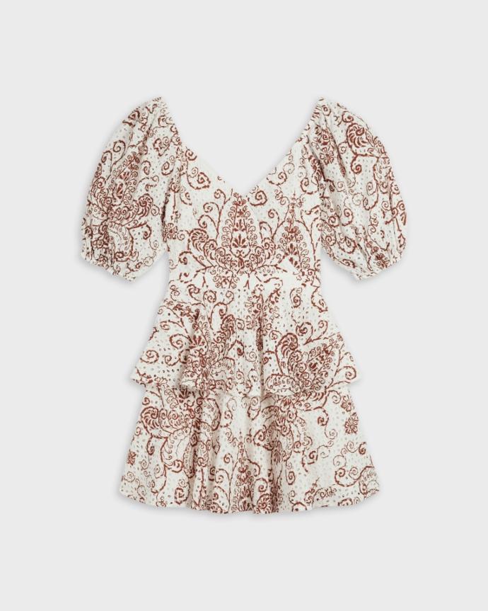 mini φόρεμα από broderie anglaise και φουσκωτά μανίκια