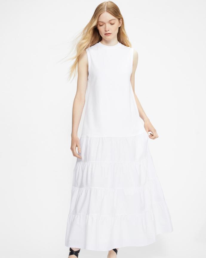 λευκό μάξι φόρεμα με βολάν
