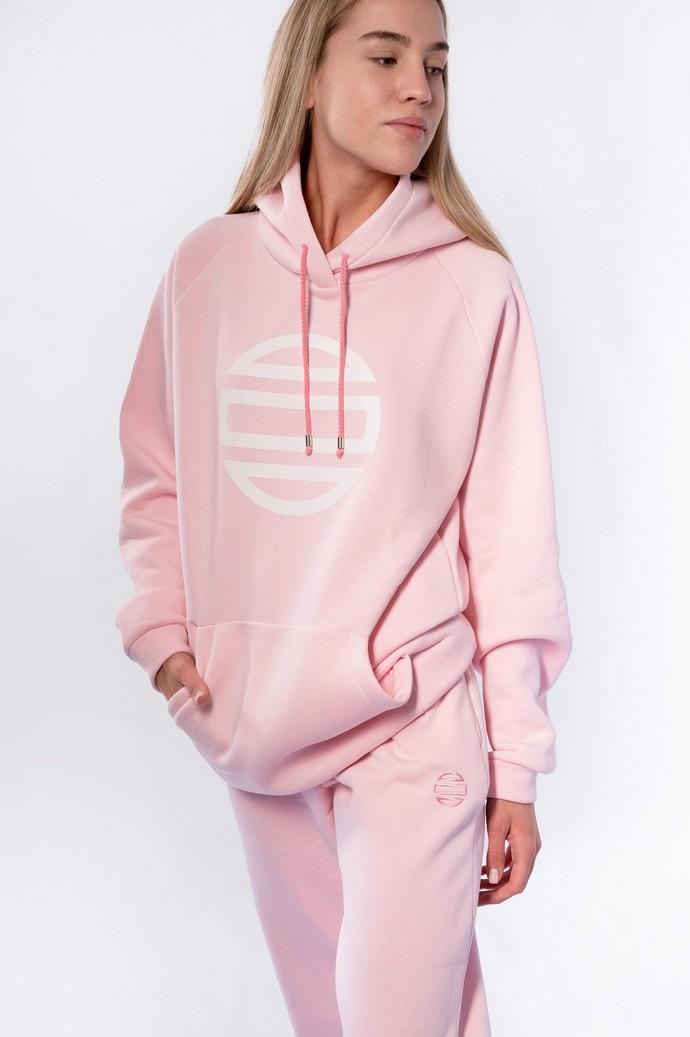 Ροζ hoodie με logo