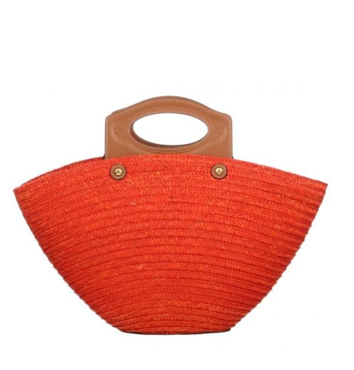 Ψάθινη τσάντα με συνδυασμό δέρματος