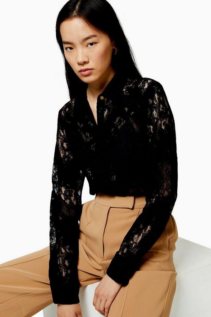 Μαύρο δαντελένιο πουκάμισο