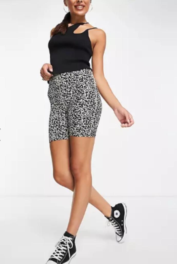 floral ποδηλατικό shorts