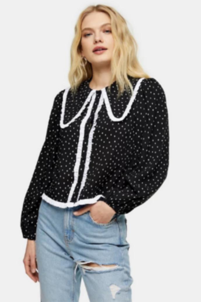 oversized collar top
