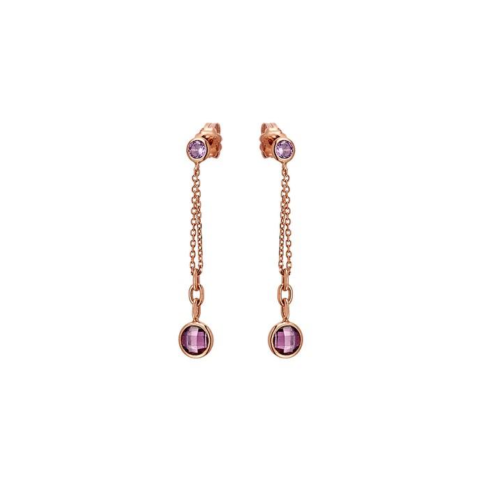 Σκουλαρίκια κρεμαστά μοβ πέτρες