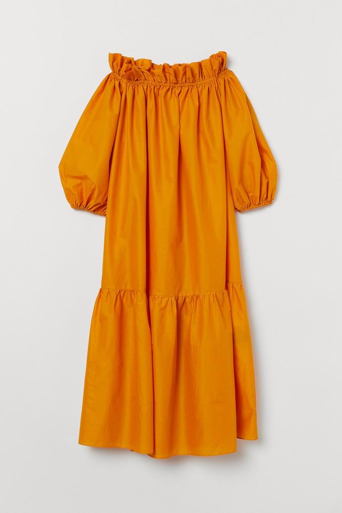 Off-the-shoulder μάξι φόρεμα