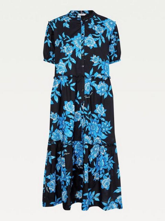 Φλοράλ φόρεμα με μάο γιακά
