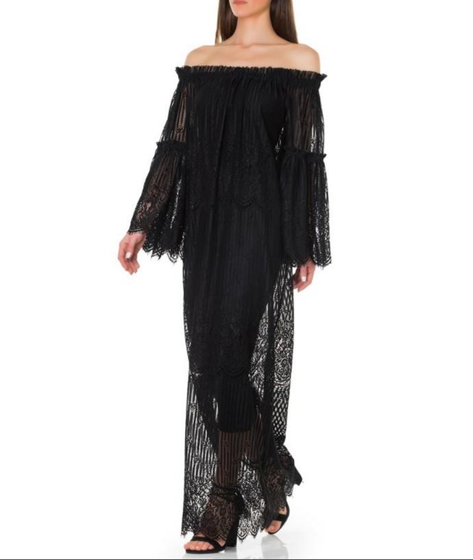 Δαντελένιο φόρεμα με παρτούς ώμους