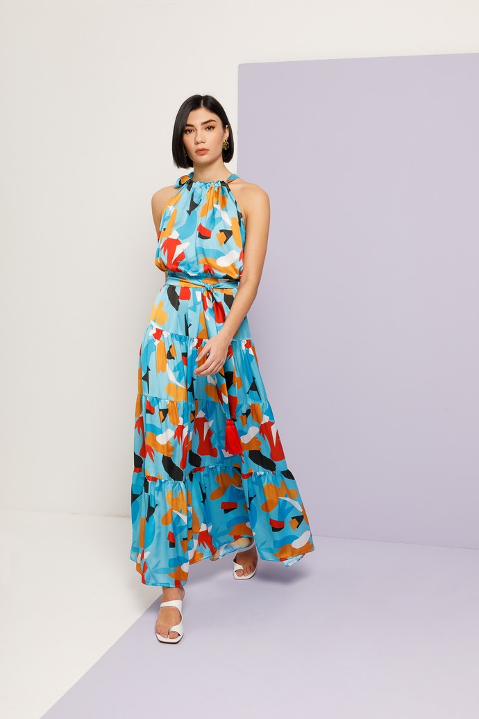 Halter φόρεμα με prints