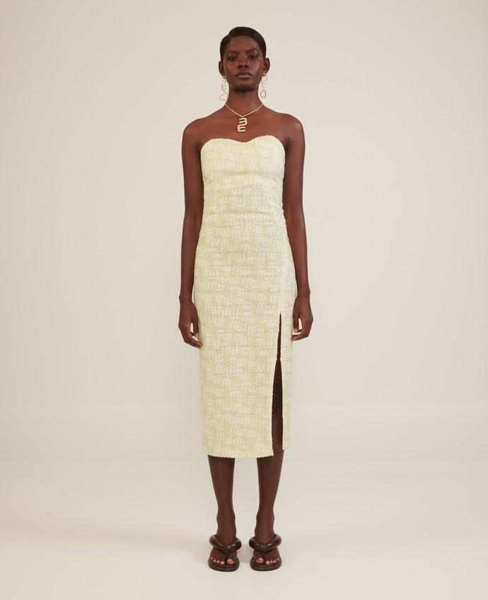 Στράπλες tweed φόρεμα