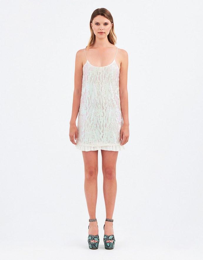 Μίνι φόρεμα με παγιέτες και δερμάτινες τιράντες