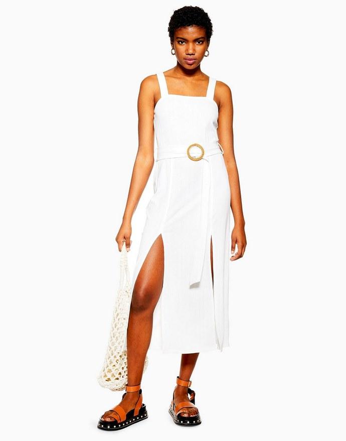 Μίντι φόρεμα με σκισίματα και ζώνη στη μέση