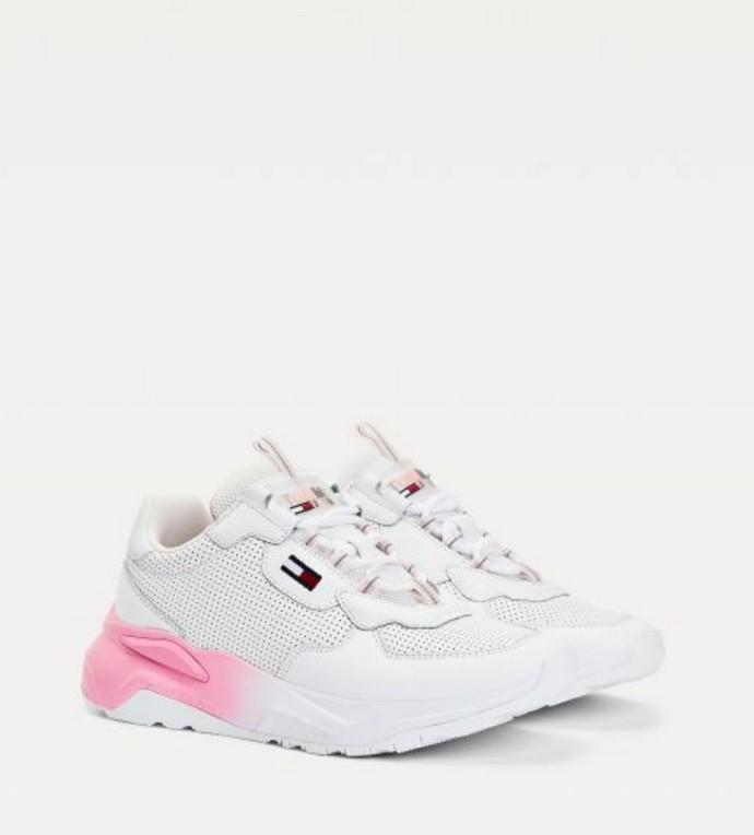 Λευκά sneakers με ombre σόλα